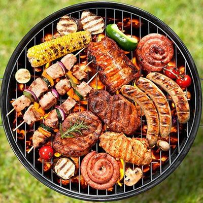 KEBABS, SAUSAGE, CHARCOAL, FLAME, BARBECUE, GRILL, MEAT, SKEWERS, LUNCH, STEAK, CORN