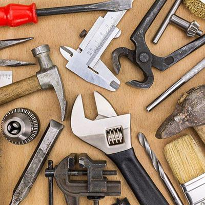 HAMMER, WRENCH, CHISEL, PLIERS, SCREWDRIVER, TOOLS, BRUSH, CHUCK, CALIPER, VICE, PROTRACTOR