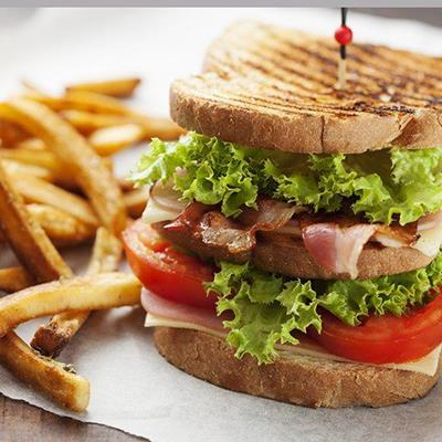 TOMATO, PAPER, CHEESE, LUNCH, SNACK, SANDWICH, FRENCHFRIES, FOOD, BACON, BREAD, LETTUCE