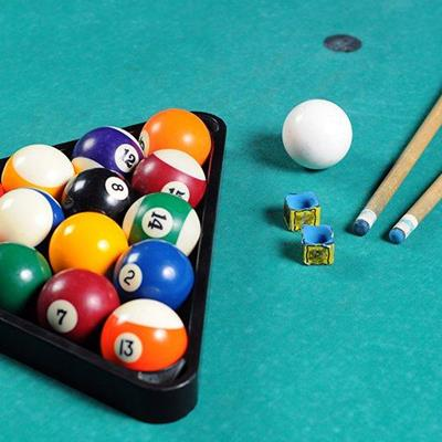 TRIANGLE, CUE, STRIPES, SOLIDS, NUMBERS, SPOTS, POOL, TABLE, BALLS, CHALK, BAIZE, FELT