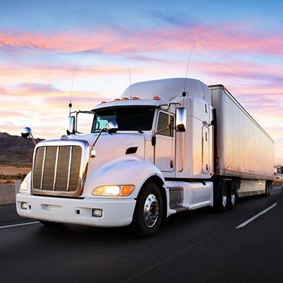 TRUCK, ROAD, CAB, WHEELS, LIGHTS, RADIATOR, TRANSPORT, TRAILER, CARGO, GRILL, SUNSET, WHITE