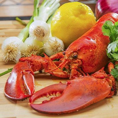 LOBSTER, LEMON, SHELL, RED, COOKED, CLAWS, ONIONS, PARSLEY, DELICACY, FOOD, VEGETABLES