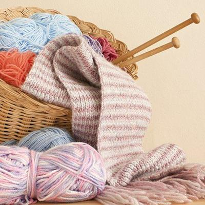 WOOL, YARN, SCARF, STRIPES, BASKET, WICKER, KNITTING, NEEDLES, BALL, CRAFT, HOBBY