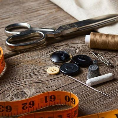 SCISSORS, THIMBLE, NEEDLE, CHALK, THREAD, BUTTONS, TAPE, FABRIC, PIN, SEWING