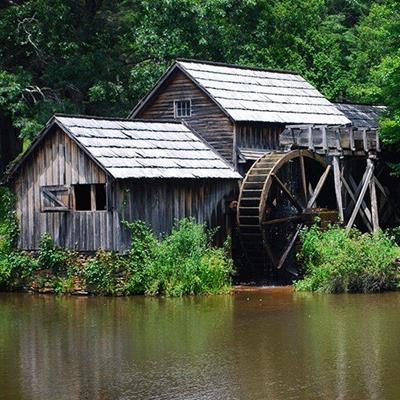 RIVER, WINDOWS, TREES, BUILDING, ROOF, RUSTIC, STRUTS, WATERMILL, WHEEL, WOOD, STREAM
