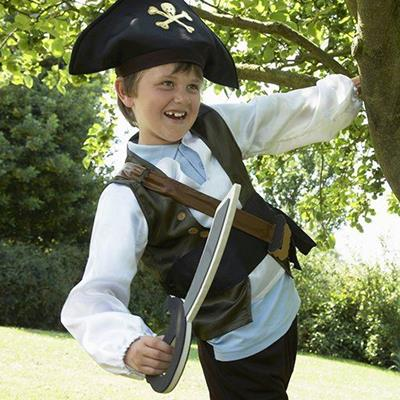 PIRATE, WAISTCOAT, SHIRT, CROSSBONES, BOY, TREE, SWORD, BELT, HAT, SKULL, BRANCH, COSTUME