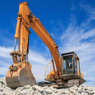 EXCAVATOR, DIGGER, CABIN, MACHINE, SCOOP, BUCKET, ARM, ENGINE, RUBBLE, PLANT, TRACKS
