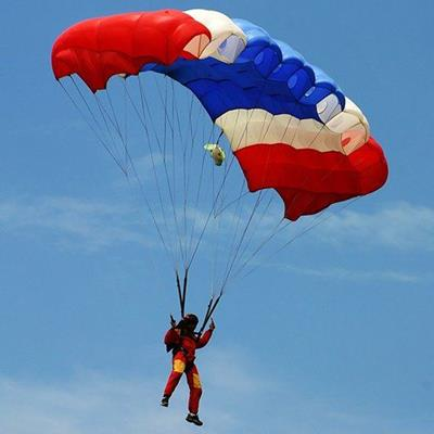 WHITE, HARNESS, LEISURE, JUMPER, GLIDING, PARACHUTE, CANOPY, SKYDIVER, PERSON, RED, BLUE