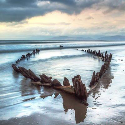 SHIPWRECK, SKELETON, REFLECTION, BEACH, WAVES, WOOD, COASTLINE, SAND, SHORE