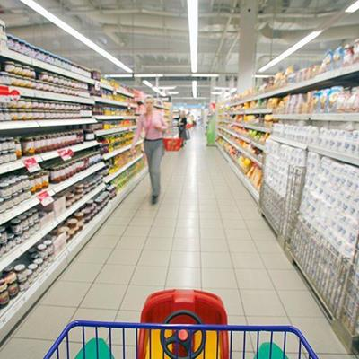 SUPERMARKET, SHELVING, STORE, GROCERIES, FOOD, AISLE, SHOPPER, CEILING, PACKETS, FLOOR