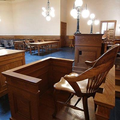 COURTROOM, WITNESS, BENCH, LIGHTS, JURY, CHAIRS, JUDGE, TABLES, VERDICT, LAW