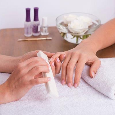 MANICURE, HANDS, TABLE, FLOWERS, BOWL, FINGERS, VARNISH, TOWELS, SALON, CUTICLES