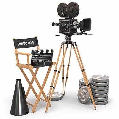 MOVIE, DIRECTOR, CLAPBOARD, MEGAPHONE, CHAIR, CAMERA, STUDIO, SCENE, TAKE, ACTION