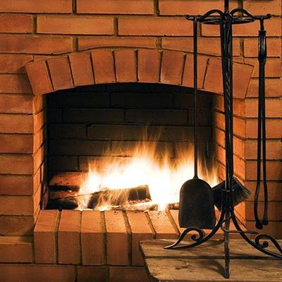 FIRE, FLAMES, HEARTH, WINTER, FUEL, BRICKWALL, CHIMNEY, LOGS, IRONS, BRUSH, SHOVEL
