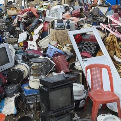 JUNK, GARBAGE, RECYCLING, HIFI, METALS, TELEVISION, DOOR, CHAIR, BASKET, FABRICS