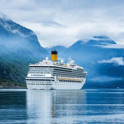 CRUISE, LINER, COLD, FUNNEL, VACATION, VOYAGE, MOUNTAINS, FJORD, FOREST, WATER