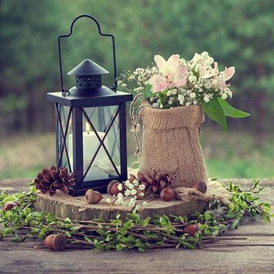 BOUQUET, SACK, CANDLE, HANDLE, PINECONE, TABLE, LANTERN, ACORN, WEDDING, FOLIAGE