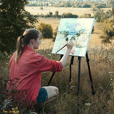 BRUSH, PALETTE, WOMAN, VISTA, NATURE, ARTIST, PAINTING, LANDSCAPE, EASEL, HOBBY, VIEW