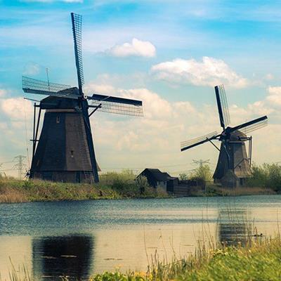 WINDMILLS, CANAL, HOLLAND, TURBINE, SAILS, NETHERLANDS, DUTCH, BLADES, TRADITIONAL