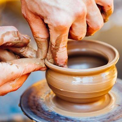 POTTER, CLAY, SPINNING, EARTHENWARE, ARTISAN, WHEEL, CERAMIC, BOWL, FINGERS