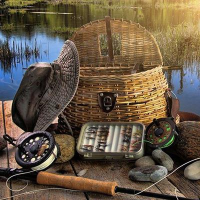 BASKET, FISHINGROD, BAIT, RECREATION, LINE, TACKLE, HAT, WATER, ANGLING, REELS, JETTY, REEDS, HOOK