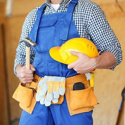 BUILDER, HANDYMAN, WORKER, BELT, CONTRACTOR, TOOLS, HELMET, HAMMER, OVERALLS, WOOD