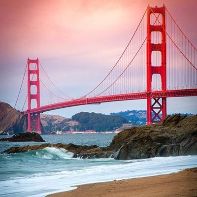 GOLDENGATE, BRIDGE, SPAN, WATER, WAVES, SAND, CABLES, TOWERS, STRUCTURE, LANDMARK
