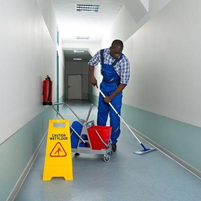 BUCKET, CLEANER, FLOOR, OVERALLS, CAUTION, EXTINGUISHER, MOP, CORRIDOR, SIGN, JANITOR, CART