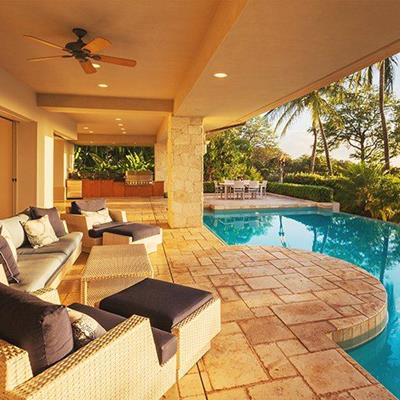 CEILINGFAN, POOL, TREE, SEATING, TILES, SUNLOUNGER, TABLE, CUSHION, PILLAR, REFLECTION