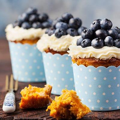 BLUEBERRIES, CUPCAKES, FROSTING, DESSERT, FORK, SPONGE, CREAM, POLKADOTS, CASES
