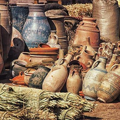 CLAY, JUG, MARKET, ORNATE, AFRICAN, SACK, CERAMIC, JAR, POTTERY, VASE, HANDLE, CARPET