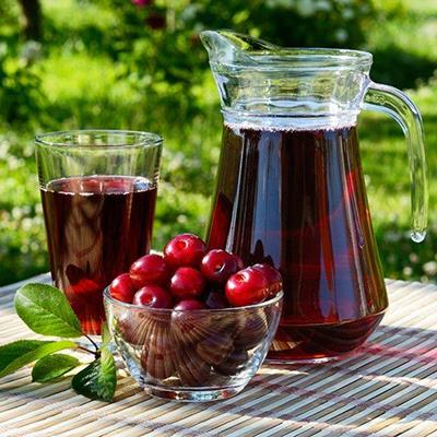 JUICE, FRUIT, DRINK, BEVERAGE, HEALTHY, CHERRIES, BOWL, PITCHER, GLASS, RIPE