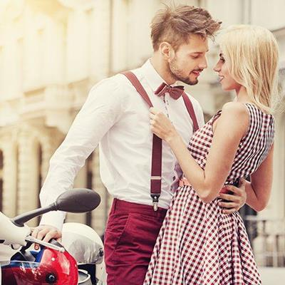 BRACES, BOWTIE, HELMET, BEARD, MIRROR, COUPLE, LOVE, SCOOTER, ROMANCE, EMBRACE, DRESS