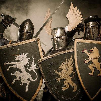 KNIGHTS, MEDIEVAL, HELMET, LION, CHAINMAIL, SHIELD, WINGS, UNICORN, PLATE, STEEL