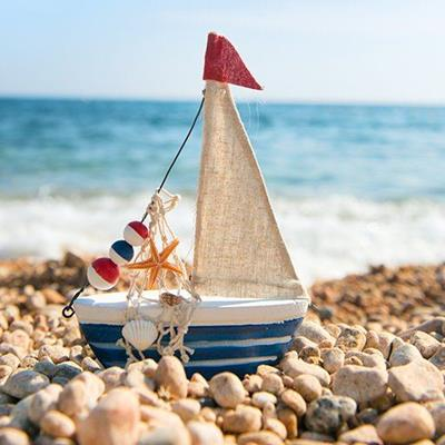 BOAT, BEACH, PEBBLES, STARFISH, FLAG, OCEAN, WAVES, SHELL, FLOATS, SAIL, CANVAS, MODEL