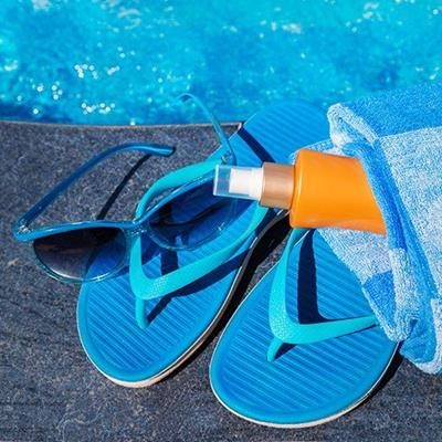 LENSES, SUNSCREEN, BOTTLE, SUNGLASSES, FLIPFLOPS, TOWEL, TURQUOISE, HOLIDAY, NOZZLE