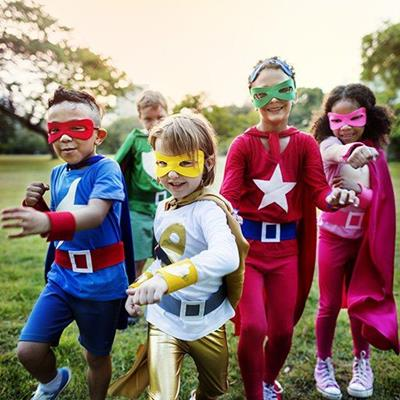 SUPERHEROES, MASK, STAR, CHILDREN, FANCYDRESS, COSTUME, CAPE, WRISTBAND, BELT, SHORTS