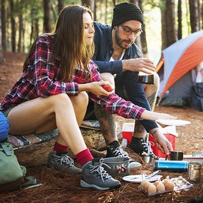 CAMPERS, TENT, COOKING, EGGS, TREKKING, SHOELACES, BACKPACK, BILLYCAN, PLATES, MUG