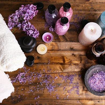 AROMATHERAPY, CANDLES, BOTTLES, SPA, TREATMENT, TOWELS, PAMPER, PETALS, PURE