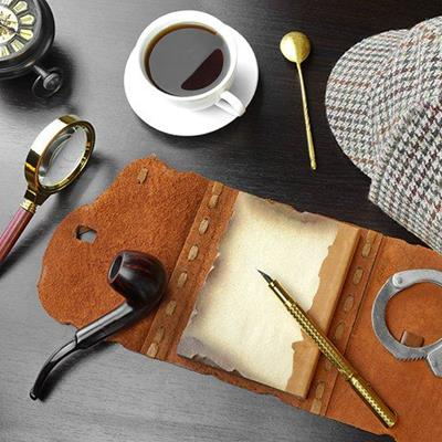 COFFEE, HAT, INVESTIGATE, CRIME, GLASS, PIPE, DETECTIVE, SLEUTH, MAGNIFYING, PEN, NOTEBOOK