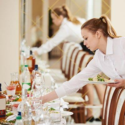 WAITRESSES, CHAIRS, PONYTAIL, TABLE, LUNCHEON, MEAL, RESTAURANT, DINING, BANQUET, EAT