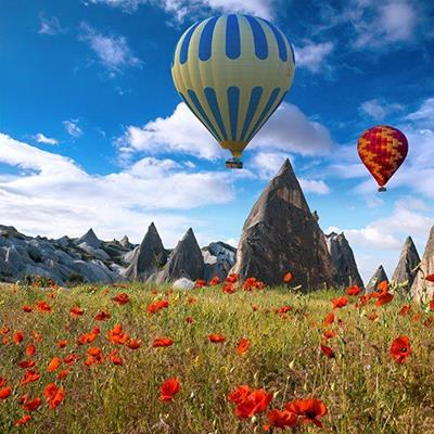 RIDE, POPPIES, FIELD, ROCKS, HOTAIR, BALLOONS, SKY, LANDSCAPE, FLOATING, BASKETS
