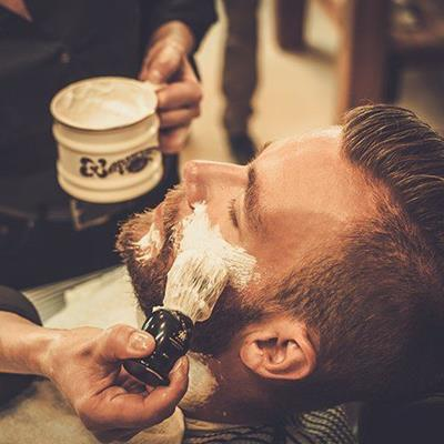 SHAVING, BEARD, FOAM, CUSTOMER, BARBER, SOAP, BRUSH, MUG, TOWEL, MASCULINE, FACE