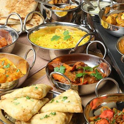 RESTAURANT, DISHES, CURRY, SAMOSAS, DINING, INDIAN, RICE, CHUTNEY, HANDLES