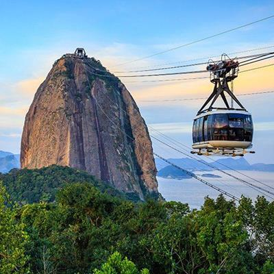 BRAZIL, RIO, CABIN, TOURISTS, TWILIGHT, AERIAL, STEEL, CABLECAR, SUGARLOAF, MOUNTAIN, RIDE