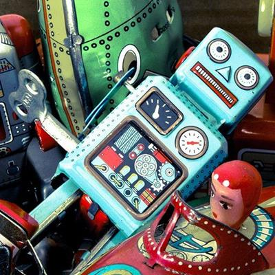 TOYS, ROBOT, PLAYING, CHILDREN, TIN, MECHANICAL, KEY, METAL, DIALS, RETRO, COLLECT