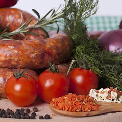 SAUSAGE, HERBS, TOMATOES, COOKERY, FRESH, FOOD, PEPPERCORNS, SPICE, SPOON, MEAT