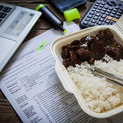 CHINESE, WORKING, LUNCH, COMPUTER, RICE, CALCULATOR, DOCUMENT, HIGHLIGHTER, PEN