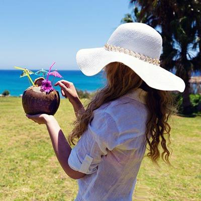 COCKTAIL, SUNHAT, BEACH, VACATION, RELAXING, COCONUT, DRINK, SEA, LONGHAIR, GIRL