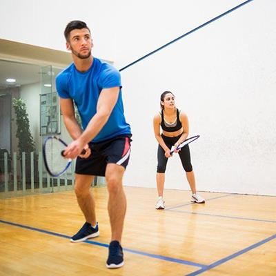 SQUASH, RACKETS, COURT, SPORTSWEAR, EXERCISE, INDOOR, COUPLE, PLAYERS, HIT, STROKE